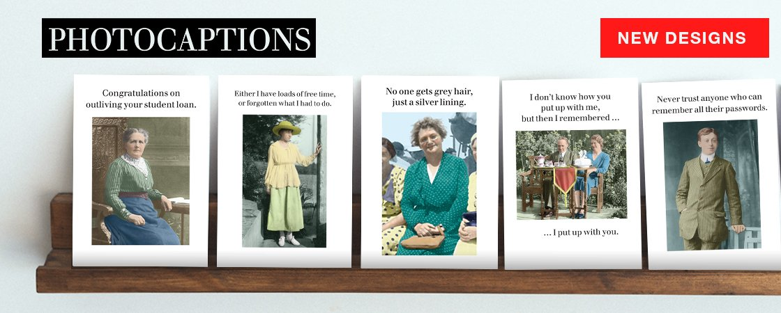 New additions to the Photocaptions range of witty greeting cards