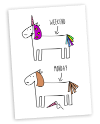Hurrah for Gin Monday unicorn greeting card