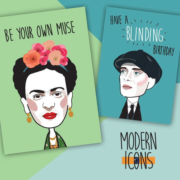 Modern Icons famous faces with funny captions on greeting cards