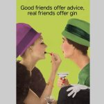 Friends Offer Gin Postcard